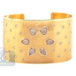 14K Yellow Gold 9.27 ct Quartz Diamond Womens Cuff Bracelet