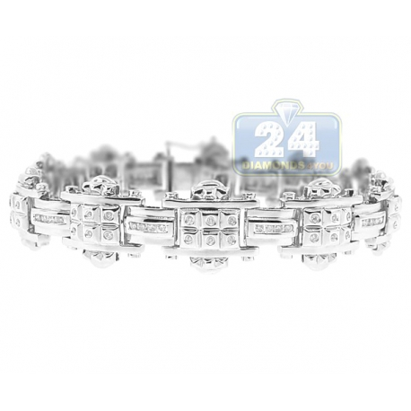 Mens Diamond Slim Link Bracelet 14K White Gold 1.00 ct 8.5""