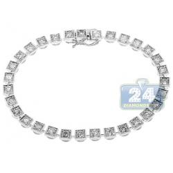 Womens Diamond Square Halo Link Bracelet 14K White Gold 4.08 ct