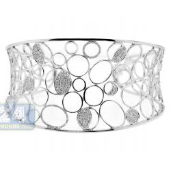 14K White Gold 2.05 ct Diamond Womens Openwork Cuff Bracelet