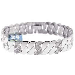 14K White Gold 2.20 ct Diamond Half Moon Womens Bracelet