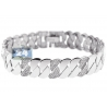 Womens Diamond Half Moon Link Bracelet 14K White Gold 2.20 ct