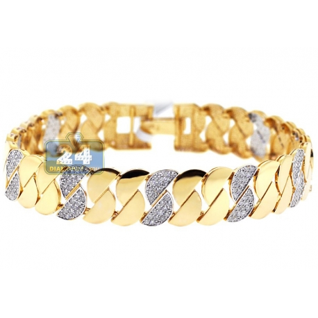 Womens Diamond Half Moon Link Bracelet 14K Yellow Gold 2.37 ct