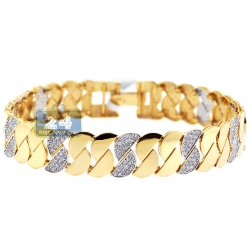 14K Yellow Gold 2.37 ct Diamond Half Moon Womens Bracelet