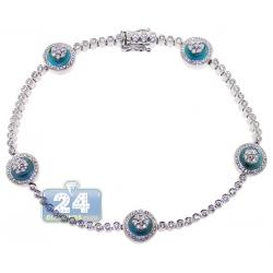 18K White Gold 1.87 ct Diamond Cluster Evil Eye Tennis Bracelet