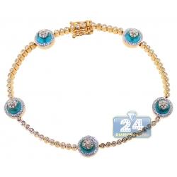 14K Yellow Gold 1.85 ct Diamond Cluster Evil Eye Tennis Bracelet