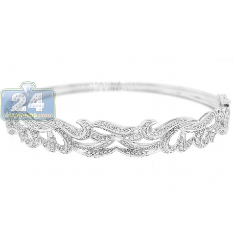 Womens Diamond Vintage Bangle Bracelet 18K White Gold 1.00 ct