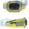 14K Yellow Gold 0.77 ct Black Diamond Mens Octagon Ring