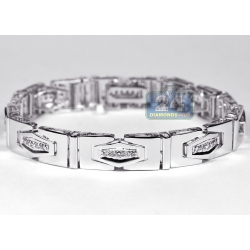 14K White Gold 1.16 ct Diamond Slim Link Mens Bracelet
