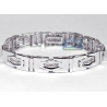 Mens Diamond Slim Link Bracelet 14K White Gold 1.16 ct 11mm 8.5""