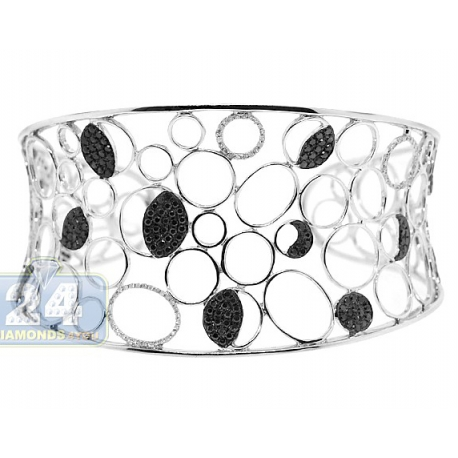 Womens Black Diamond Openwork Cuff Bracelet 14K White Gold 8""