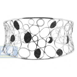 14K White Gold 2.10 ct Black Diamond Openwork Cuff Bracelet