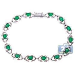 Womens Diamond Emerald Fancy Halo Bracelet 18K White Gold 5.59 ct