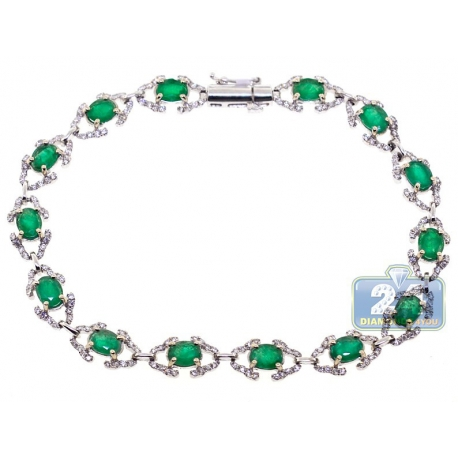 Womens Diamond Emerald Fancy Halo Bracelet 18K White Gold 5.59 ct