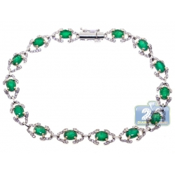 18K White Gold 5.59 ct Diamond Emerald Womens Halo Bracelet
