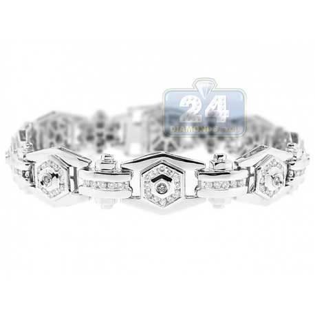 Mens Round Diamond Bracelet 14K White Gold 3.02 ct 14mm 8.5""