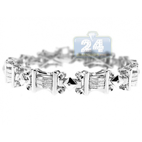 Mens Diamond Link Bracelet 14K White Gold 0.78 ct 12mm 8.5""
