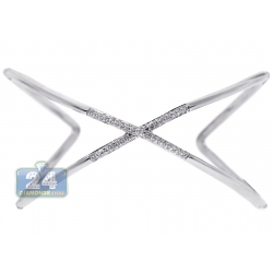Womens Diamond Cross Cuff Bangle Bracelet 18K White Gold 1.00 ct