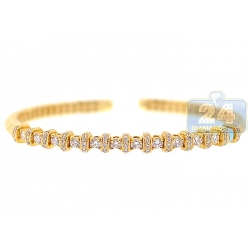 18K Yellow Gold 1.57 ct Diamond Womens Cuff Bracelet 7.5 Inches
