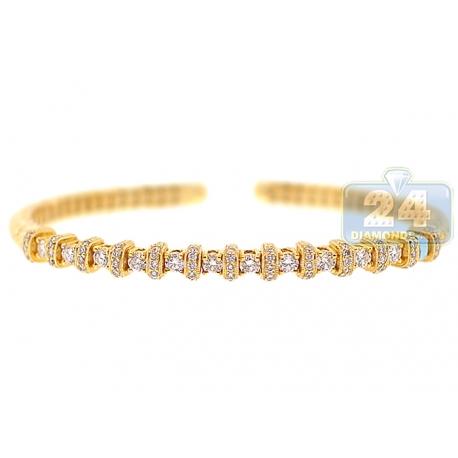 "Womens Diamond Vintage Cuff Bracelet 18K Yellow Gold 1.57 ct 7.5"""