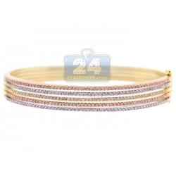 "Womens Diamond Bangle Bracelet 14K Three Tone Gold 1.89 ct 8"""