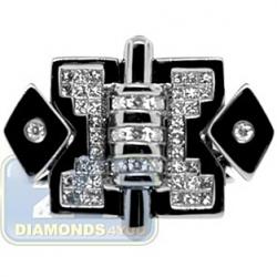 Black PVD 14K Gold 0.69 ct Princess Cut Diamond Mens Ring