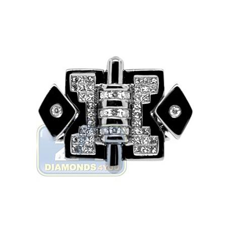 Black PVD 14K Gold 0.69 ct Princess Cut Diamond Mens Signet Ring