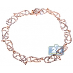 14K Rose Gold 3.16 ct Diamond Filigree Link Womens Bracelet