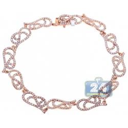 14K Rose Gold 3.16 ct Diamond Filigree Link Womens Bracelet