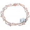 "Womens Diamond Filigree Bracelet 14K Rose Gold 3.16 ct 7.75"""