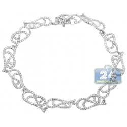 14K White Gold 3.14 ct Diamond Filigree Link Womens Bracelet
