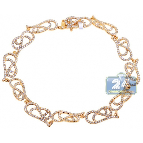 Womens Diamond Filigree Bracelet 14K Yellow Gold 3.15 ct 7.75""