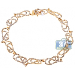 14K Yellow Gold 3.15 ct Diamond Filigree Link Womens Bracelet