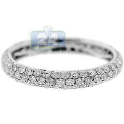14K White Gold 1.21 ct Diamond All Way Around Band Ring