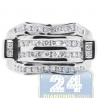 14K White Gold 0.75 ct Round Cut Diamond Mens Rectangle Ring