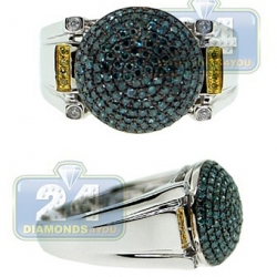 14K White Gold 0.90 ct Blue Yellow Diamond Mens Ball Ring