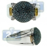 14K White Gold 0.90 ct Blue Yellow Diamond Mens Round Ball Ring