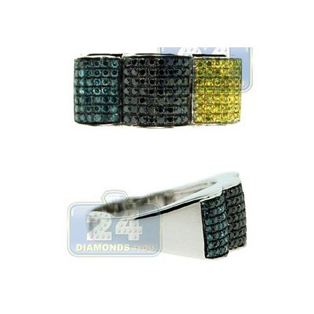 14K White Gold 0.85 ct Black Blue Yellow Diamond Mens Ring