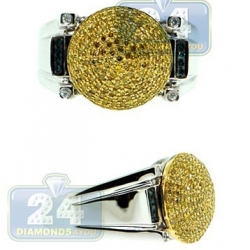 14K Two Tone Gold 0.80 ct Yellow Blue Diamond Mens Ring