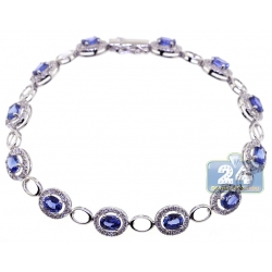 Womens Blue Sapphire Diamond Halo Bracelet 18K White Gold 6.80 ct