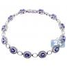 Womens Blue Sapphire Diamond Halo Bracelet 18K White Gold 6.80 ct