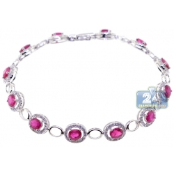 Womens Ruby Diamond Halo Tennis Bracelet 18K White Gold 6.15 ct