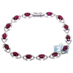 Womens Diamond Ruby Fancy Halo Bracelet 18K White Gold 9.43 ct