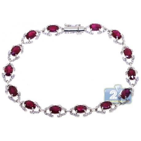 Womens Diamond Ruby Fancy Halo Bracelet 18K White Gold 9.43 ct