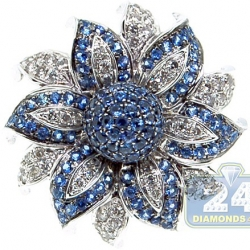 14K White Gold 1.52 ct Blue Sapphire Diamond Flower Ring