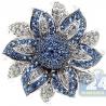 14K White Gold 1.52 ct Blue Sapphire Diamond Flower Cocktail Ring