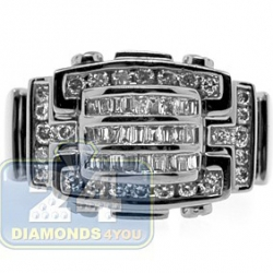 Black PVD 14K Gold 0.76 ct Baguette Round Diamond Mens Ring