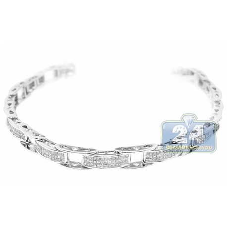 Womens Princess Diamond Bicycle Bracelet 14K White Gold 3.10 ct
