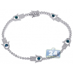 14K White Gold 1.60 ct Diamond Hamsa Hand Tennis Bracelet