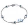 Womens Diamond Hamsa Hand Tennis Bracelet 14K White Gold 1.60ct